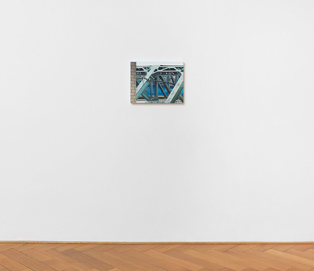 "Caleb Considine – ""Trestle"", 2017 oil on canvas 35.5 x 45.8 cm installation view Galerie Buchholz, Berlin 2017"