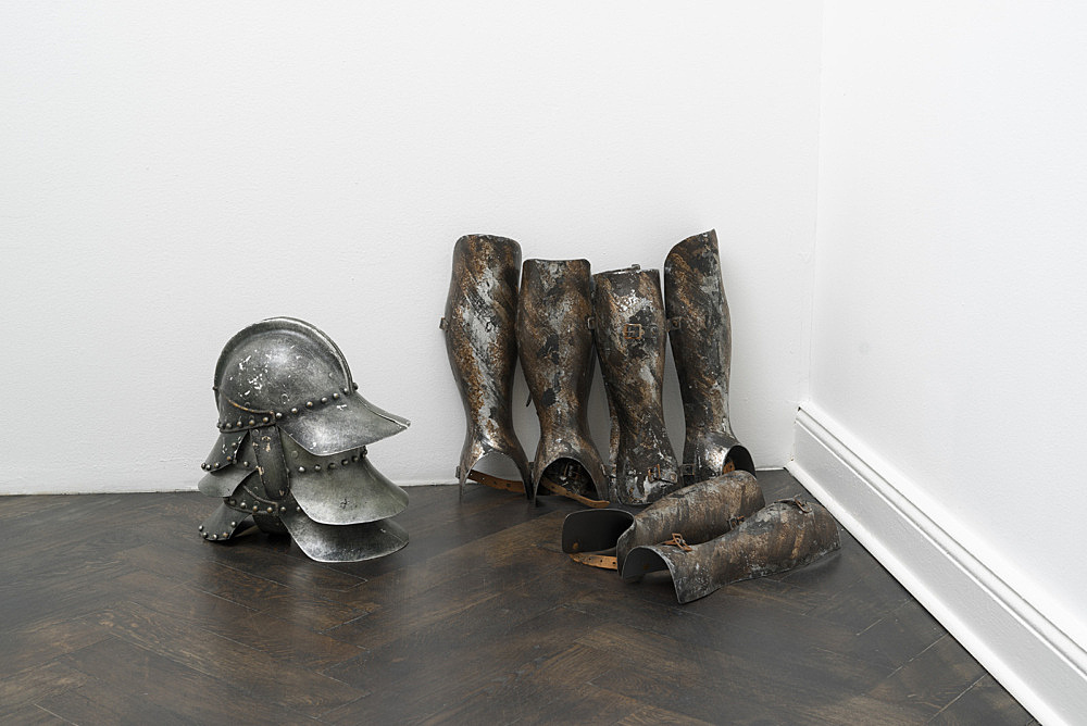"""Lutz Bacher – """"Armor"""", 2013 plastic, paint, leather, metal overall dimensions variable installation view Galerie Buchholz, Berlin 2017"""