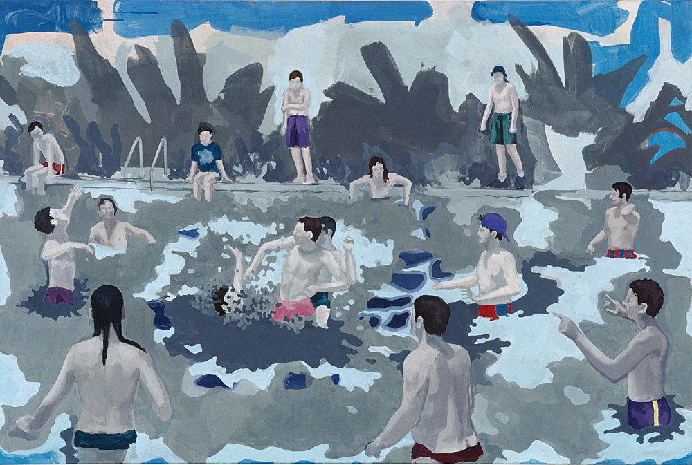 """Thomas Eggerer – """"Pool"""", 1999 acrylic on canvas 100 x 105 cm"""