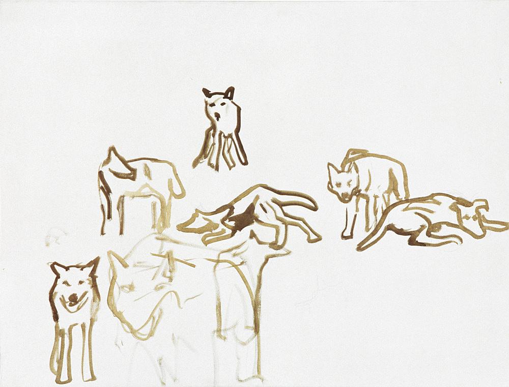 "Thomas Eggerer – ""Rudel"", 1998 acrylic on canvas 65 x 85 cm"