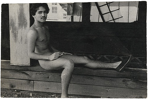 Alvin Baltrop – The Piers (man sitting with leg extended), n.d. (1975-1986) silver gelatin print image size: 7 x 10.8 cm paper size: 7 x 10.8 cm (framed: 35.3 x 40.4 x 2.8 cm)