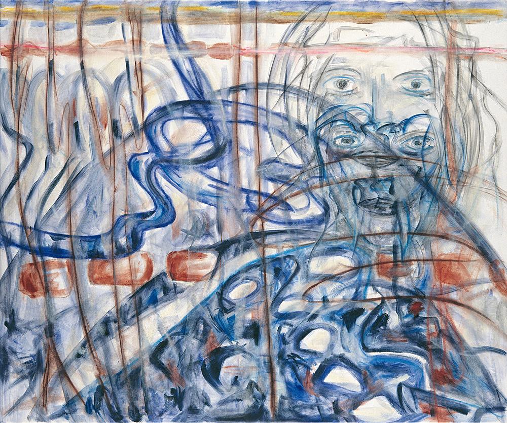 "Jutta Koether – ""Blue Bleeding"", 1995 oil on canvas 133 x 158 cm"