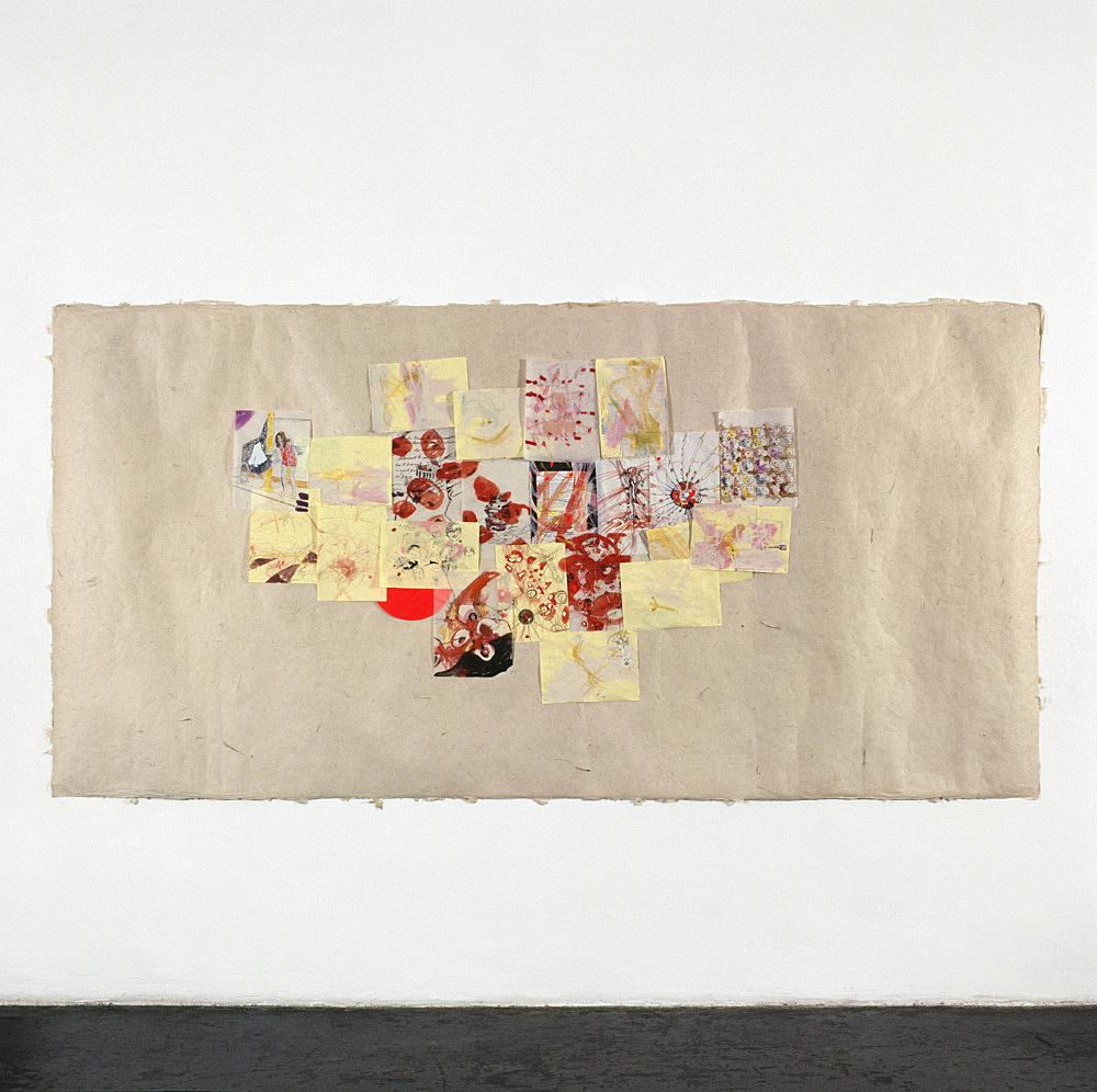 "Jutta Koether – ""außer sich"", 1998 23 drawings on tibetan paper 173 x 300 cm"
