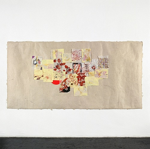"Jutta Koether – ""außer sich"", 1998 23 drawings on tibetan paper 173 x 300 cm"