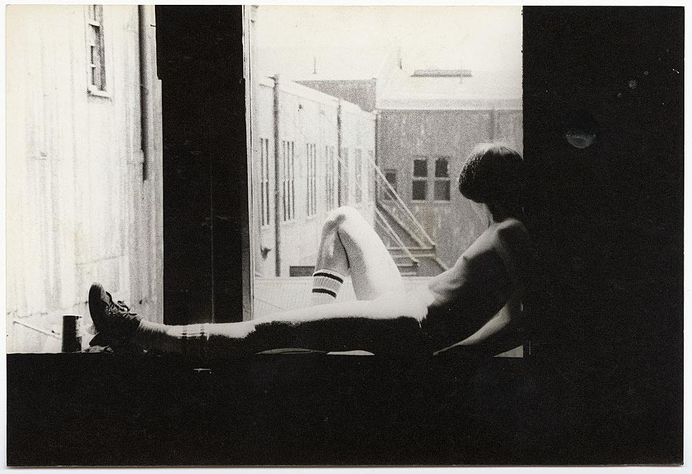 Alvin Baltrop – The Piers (man sitting on windowsill), n.d. (1975-1986) silver gelatin print image size: 11.8 x 17.2 cm paper size: 11.8 x 17.2 cm (framed: 35.3 x 40.4 x 2.8 cm)