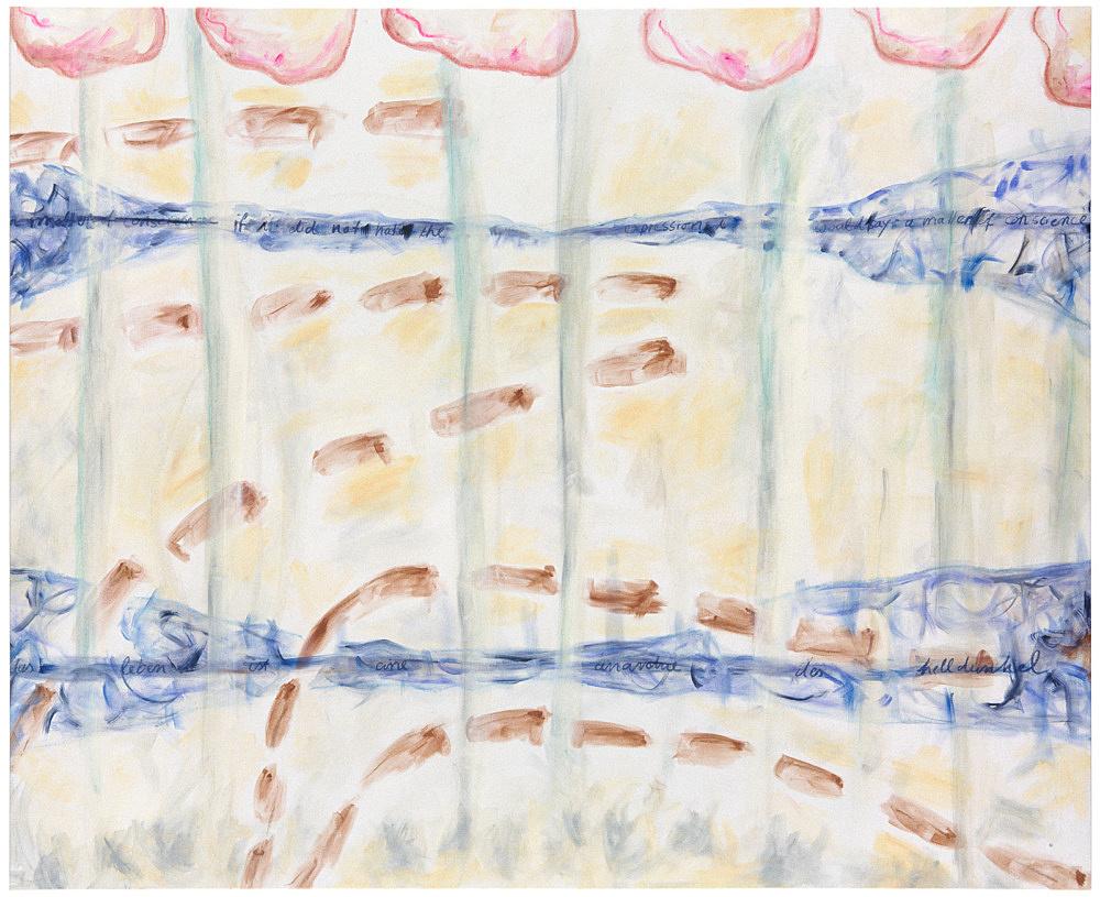 """Jutta Koether – """"Gewissensfrage"""", 1995 oil on canvas 144.5 x 177 cm"""
