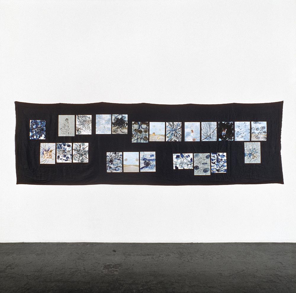 "Jutta Koether – ""aerial robe"", 1998 22 drawings on indigo-coloured linen 120 x 380 cm"