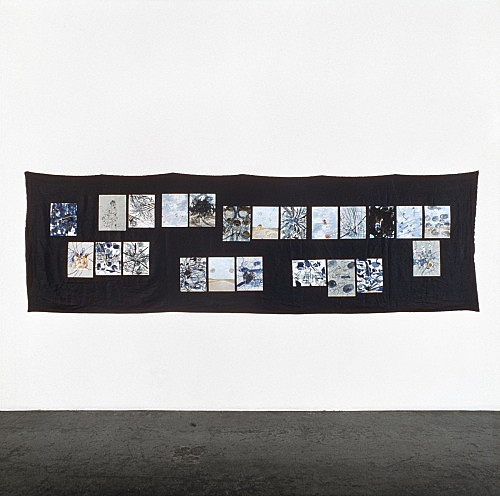 "Jutta Koether – ""aerial robe"", 1998 22 drawings on indigo-coloured linen 120 x 380 cm"