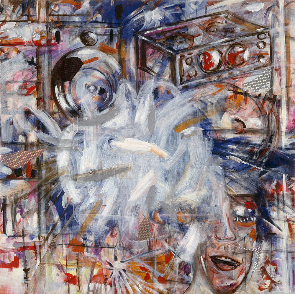 """Jutta Koether – """"Die Erinnerung entwickelt nichts als Bilder und ich bin mir selber selbst schon nichts mehr als das vernichtende Nichts der Gedanken"""", 1995 oil on canvas 68 x 68 cm"""