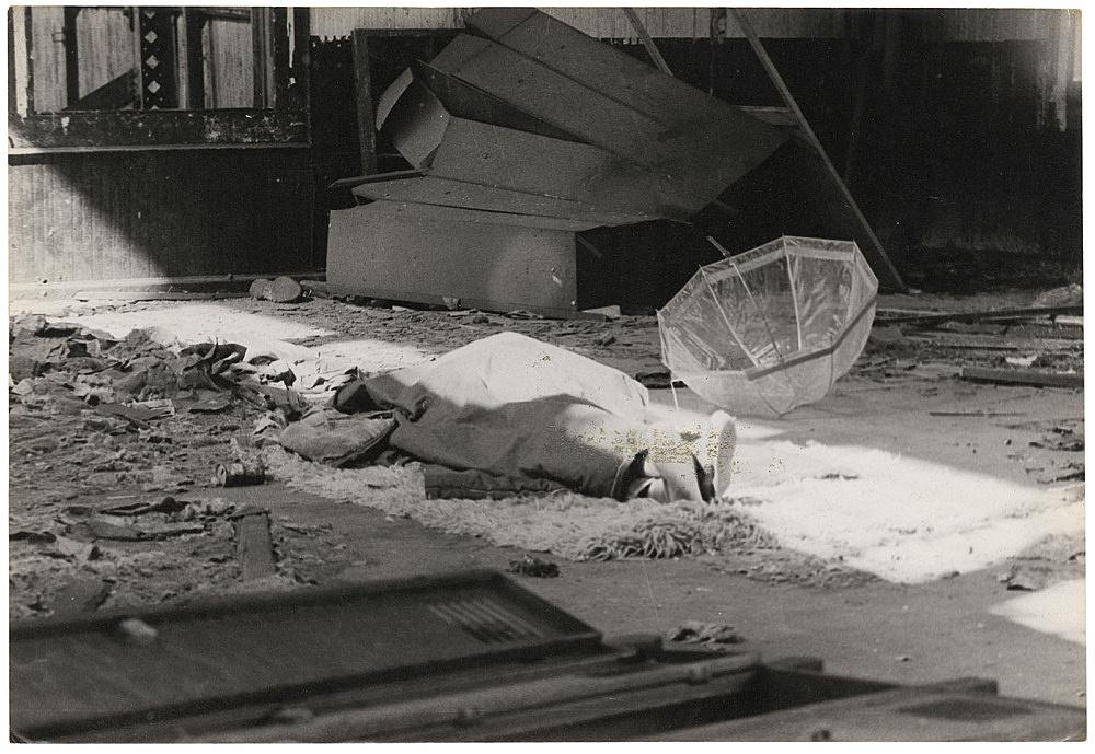 Alvin Baltrop – The Piers (body under cloth, umbrella), n.d. (1975-1986) silver gelatin print image size: 11.8 x 16.8 cm paper size: 11.8 x 16.8 cm (framed: 35.3 x 40.4 x 2.8 cm)