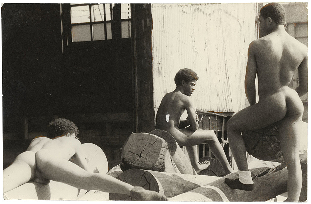 Alvin Baltrop – The Piers (three men on dock), n.d. (1975-1986) silver gelatin print image size: 11.5 x 17.8 cm paper size: 11.5 x 17.8 cm (framed: 35.3 x 40.4 x 2.8 cm)