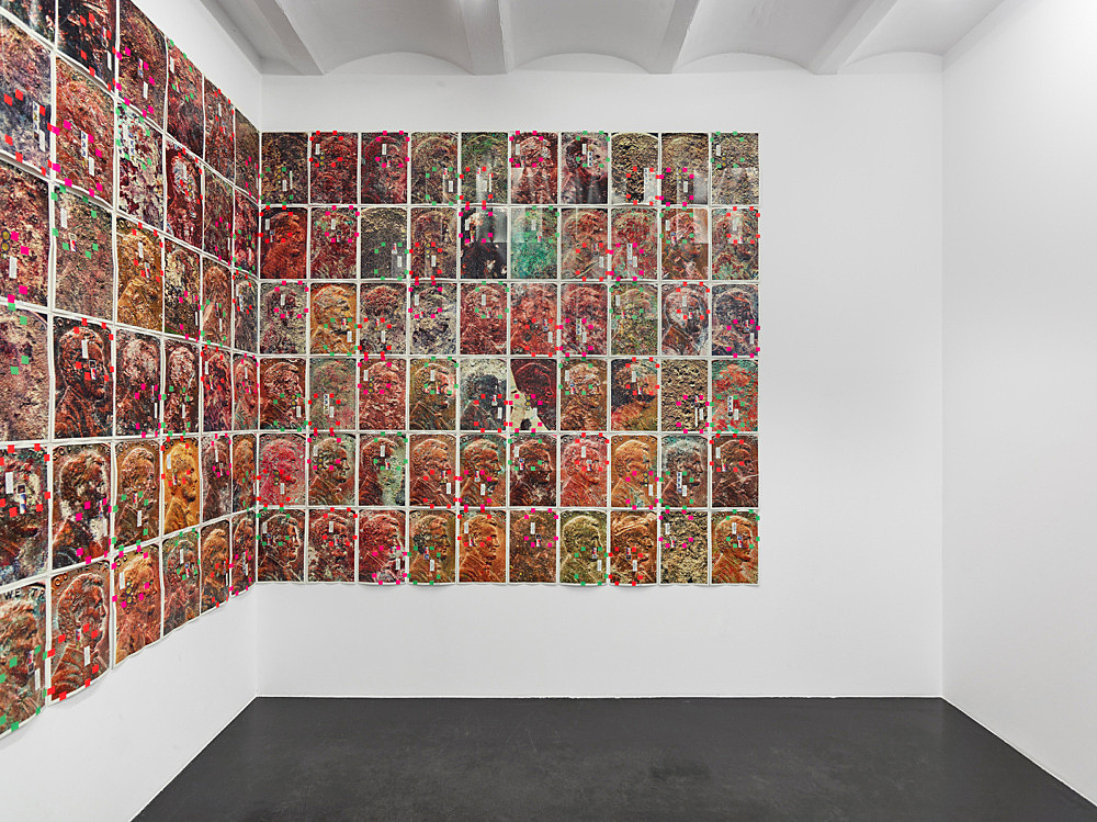 """Moyra Davey – """"EM Copperheads"""", 2017 150 digital c-prints on fujicolor crystal archive paper, tape, postage, ink each 30.5 x 45.7 cm, overall dimensions 274.8 x 762.5 cm (variable) installation view Galerie Buchholz, Köln 2017"""