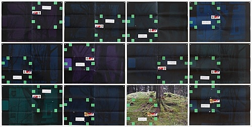 "Moyra Davey – ""Dark Trees"", 2016 12 c-prints, tape, postage, ink 30.5 x 45.75 cm each; 94 x 186.7 cm overall"