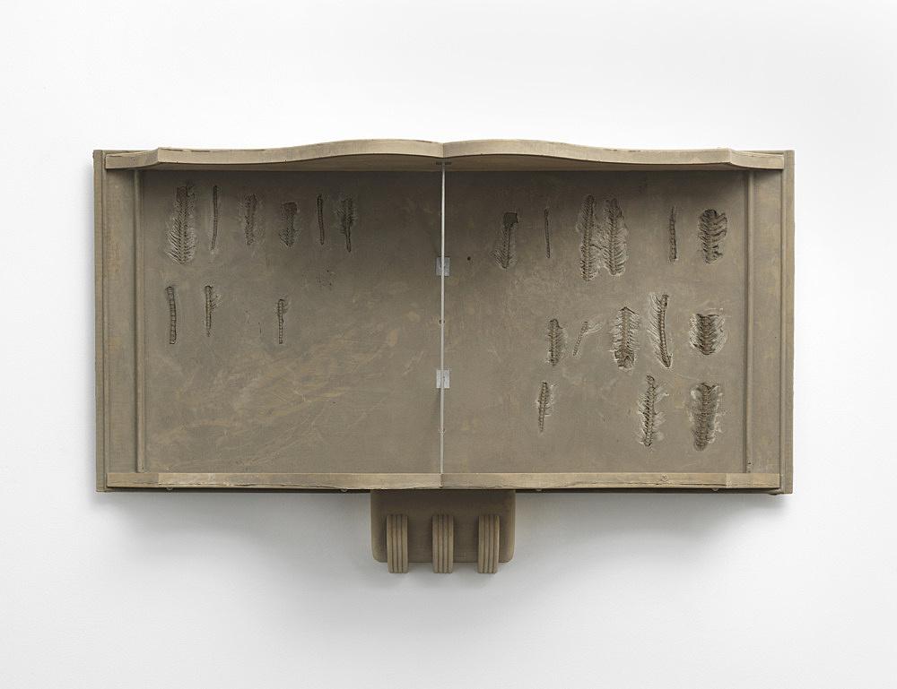 "Sam Lewitt – ""Stranded Asset"", 2017 cast fuel ash, metal hardware, fish bones 77 x 126 x 28 cm"