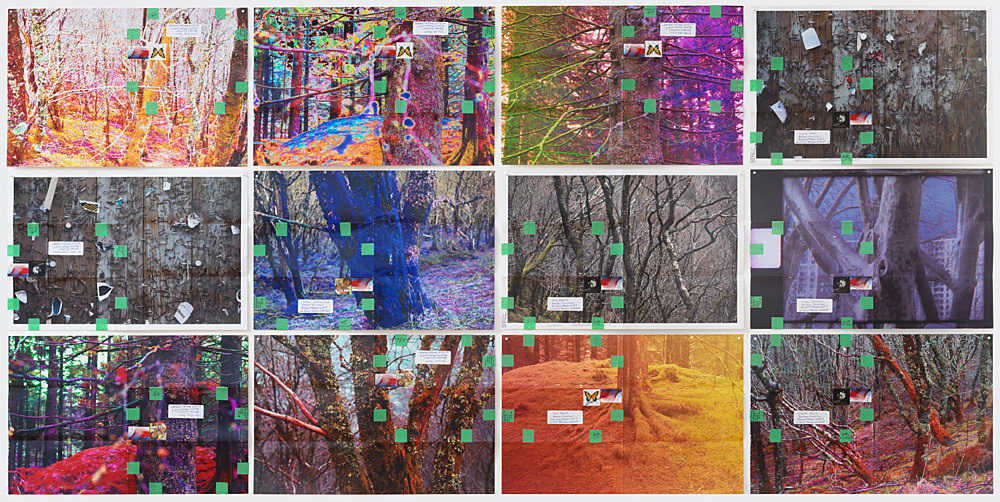 """Moyra Davey – """"Hoardings"""", 2016 12 c-prints, tape, postage, ink 30.5 x 45.75 cm each; 94 x 186.7 cm overall"""