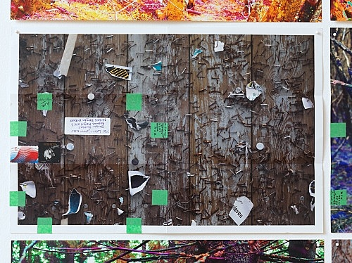 "Moyra Davey – ""Hoardings"", 2016 12 c-prints, tape, postage, ink 30.5 x 45.75 cm each; 94 x 186.7 cm overall detail"