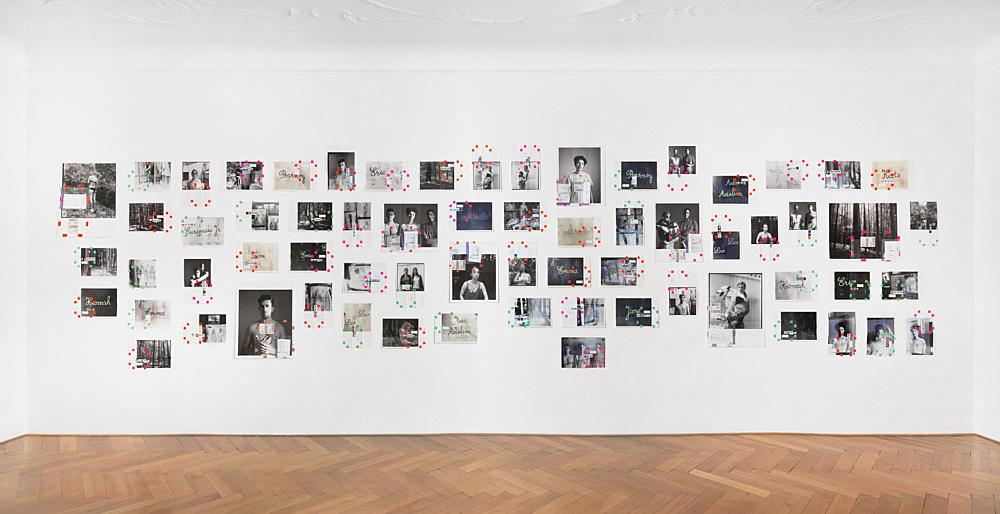 "Moyra Davey – ""Portrait/Landscape"", 2017 66 c-prints, tape, postage, ink installation dimensions: approx. 246 x 912 cm"