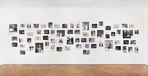 "Moyra Davey – ""Portrait/Landscape"", 2017 66 c-prints, tape, postage, ink installation dimensions: approx. 246 x 912 cm"