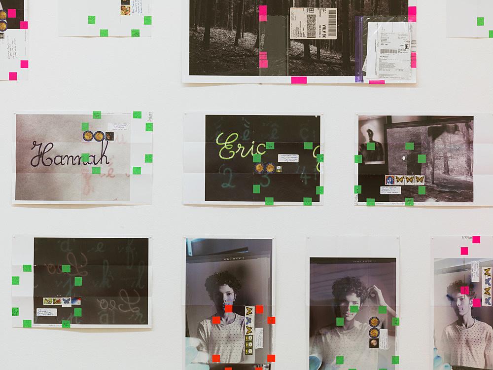"Moyra Davey – ""Portrait/Landscape"", 2017 66 c-prints, tape, postage, ink installation dimensions: approx. 246 x 912 cm detail"
