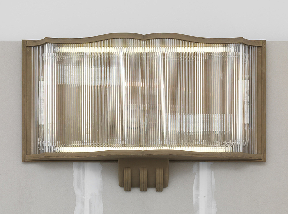 "Sam Lewitt – ""Stranded Asset: Filler"", 2017 cast fuel ash, metal hardware, Murano glass, electrical hardware, fluorescent bulbs, aluminium studs, synthetic FDG gypsum sheetrock, spackle, 4 buckets of fuel ash (Kraftwerk Reuter West: Mineral Deutschland GmbH [Berlin], Alma Station: Dairyland Power Cooperative [Wisconsin]), plastic sheeting object: 77 x 126 x 28 cm, wall: 260 x 240 x 9 cm buckets inst. dimensions: approx. 40 x 140 x 90 cm installation dimensions variable detail"