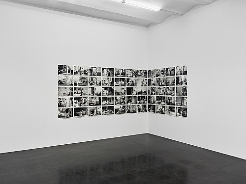 "Moyra Davey – ""Empties"", 2017 55 archival inkjet prints on epson enhanced matte paper, aluminum tape, postage, ink each 30.5 x 45.7 cm, overall dimensions 155 x 508 cm (variable) installation view Galerie Buchholz, Köln 2017"