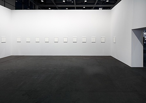 Michael Krebber – Untitled (Flat Finish 1- 47), 2016 47 drawings, pencil and ballpoint on paper, in aluminium frame (artist frame), dimensions variable, from 9 × 13 to 21 × 18 cm (framed 41,5 × 33,5 × 2,5 cm) installation view Art Basel, Art Unlimited, Basel 2017