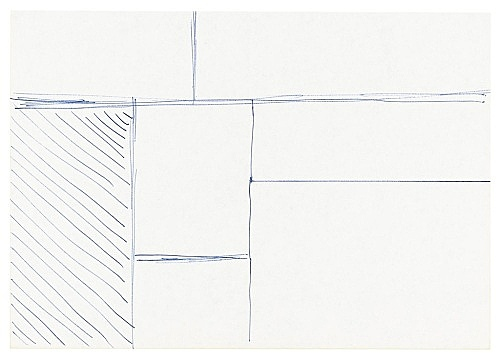 "Michael Krebber – ""Untitled (Flat Finish 8)"", 2016 pen on paper 14.5 x 21 cm (framed: 41.5 x 33.5 cm)"