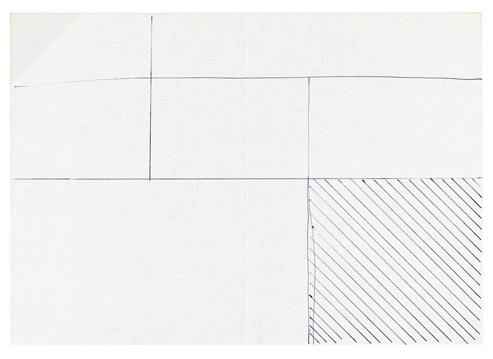 "Michael Krebber – ""Untitled (Flat Finish 15)"", 2016 pen on paper 15 x 21 cm (framed: 41.5 x 33.5 cm)"