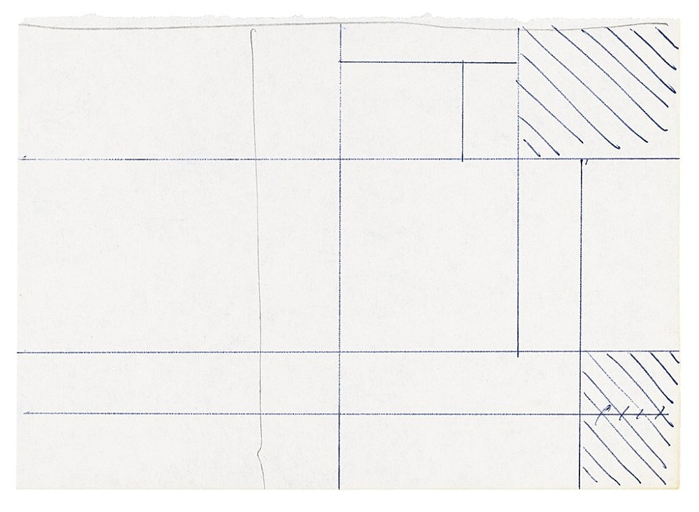 "Michael Krebber – ""Untitled (Flat Finish 20)"", 2016 pen and pencil on paper 10.5 x 14.5 cm (framed: 41.5 x 33.5 cm)"