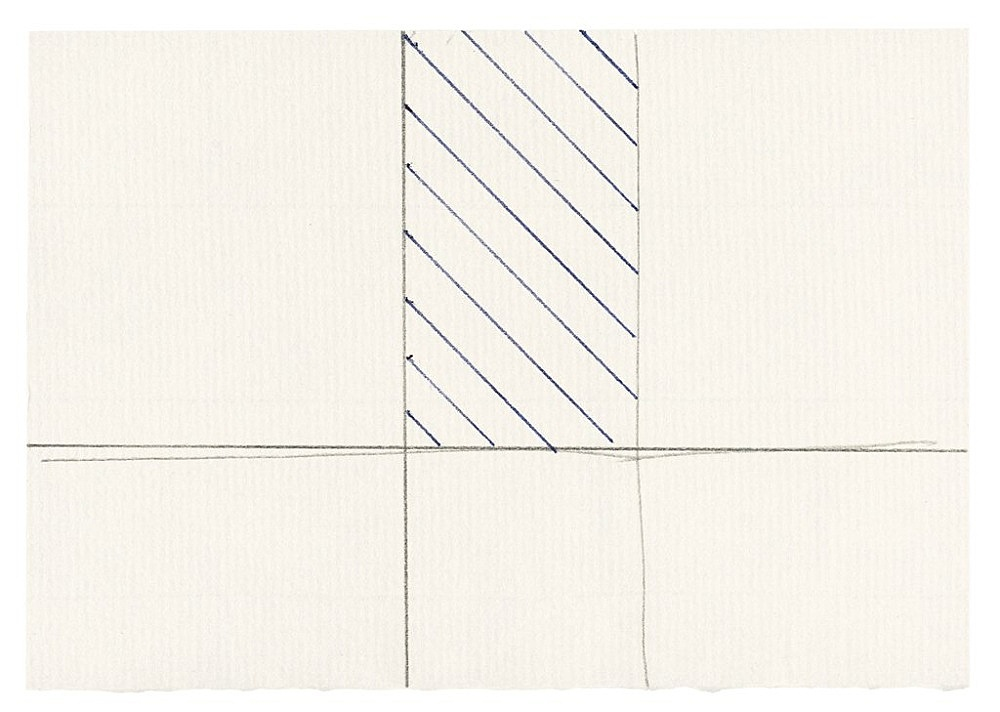 "Michael Krebber – ""Untitled (Flat Finish 34)"", 2016 pen and pencil on paper 9 x 13 cm (framed: 41.5 x 33.5 cm)"