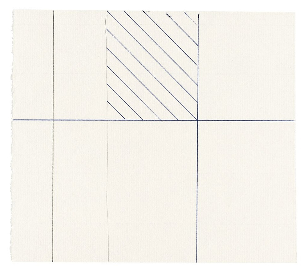 "Michael Krebber – ""Untitled (Flat Finish 35)"", 2016 pen and pencil on paper 13.5 x 15.5 cm (framed: 41.5 x 33.5 cm)"