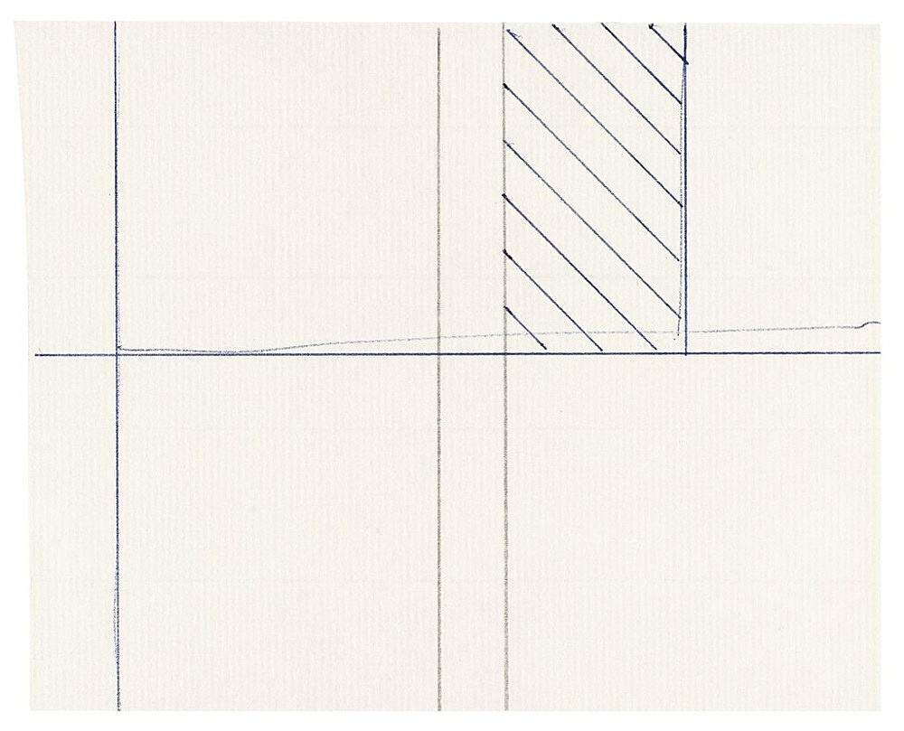 "Michael Krebber – ""Untitled (Flat Finish 43)"", 2016 pen and pencil on paper 12 x 15 cm (framed: 41.5 x 33.5 cm)"