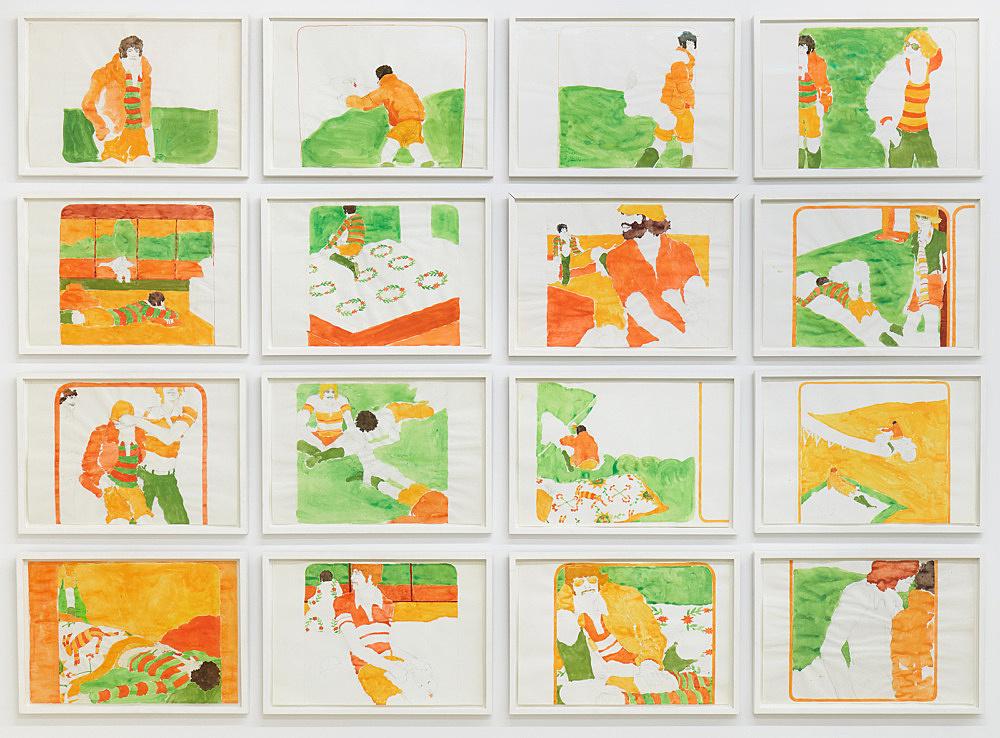 """Kai Althoff – """"Erwachsen Werden, Fabio (Growing Up, Fabio)"""", 1991 acrylic, pencil on paper 16 parts, each 29.5 x 42 cm"""