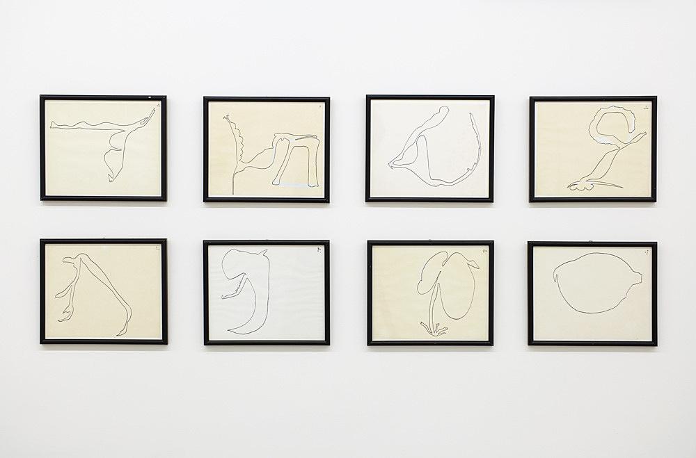 """Öyvind Fahlström – """"Improvisations for Nightmusic"""", ca. 1975 ink on paper 8 works, each 19 x 23 cm installation view Galerie Buchholz, New York 2017"""