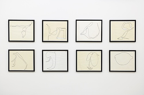 "Öyvind Fahlström – ""Improvisations for Nightmusic"", ca. 1975 ink on paper 8 works, each 19 x 23 cm installation view Galerie Buchholz, New York 2017"