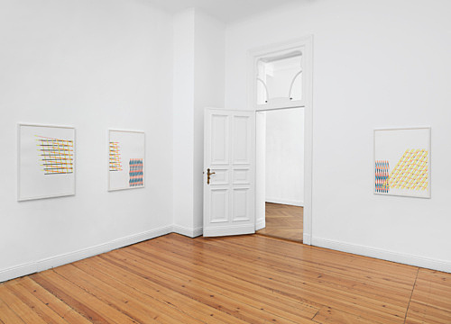 Tomma Abts – Untitled #1-7, 2016 7 parts, pencil and coloured pencil on paper each 84.1 x 59.4 cm (framed each 89.3 x 64.7 x 2.8 cm) detail installation view Galerie Buchholz, Berlin 2017