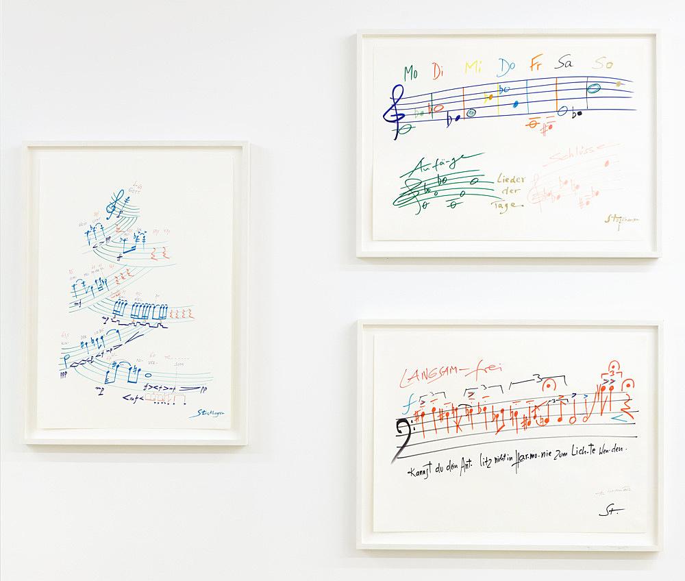 Karlheinz Stockhausen – Untitled, n.d. felt pen on paper 3 works, each 62 x 45 cm
