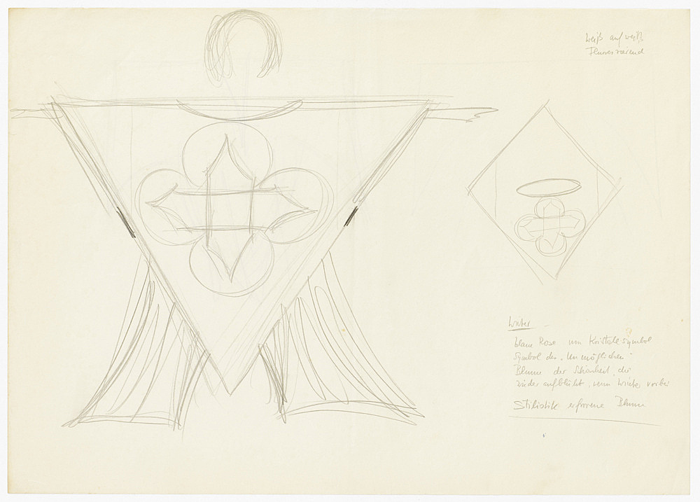 "Mary Bauermeister – costume design for Karlheinz Stockhausen, ""Sirius"", n.d. drawing on paper approx. 30.6 x 43.2 cm"