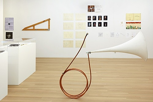 "Tony Conrad – ""Fair Ground Electric Horn"", 2003 large funnel, hose clamps, copper tubing, metal mouthpiece 182 x 121.5 x 55.9 cm installation view Galerie Buchholz, New York 2017"