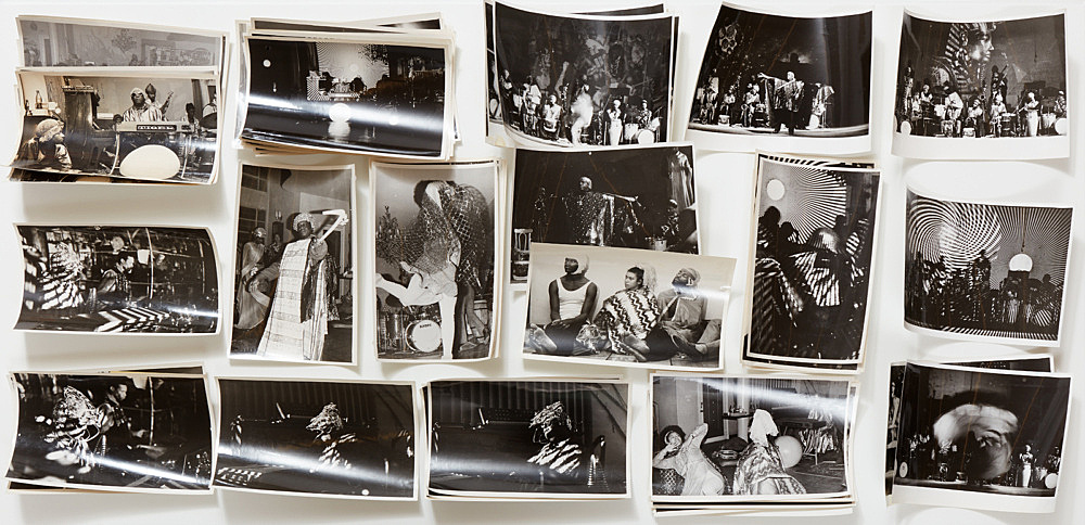 – Vitrine: Sun Ra / Hartmut Geerken Hartmut Geerken 53 photographs of Sun Ra Arkestra performing at Heliopolis/Egypt, December 12, 1971 and Balloon Theater, Cairo, December 17, 1971 installation view Galerie Buchholz, New York 2017
