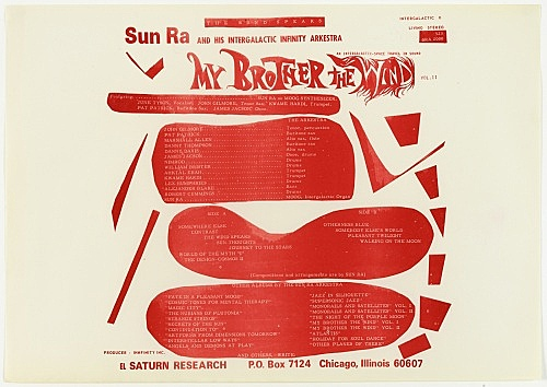 "Sun Ra – design for record sleeve: ""My Brother the Wind"", back, 1970 offset printed paper on cardboard 33 x 48 cm"