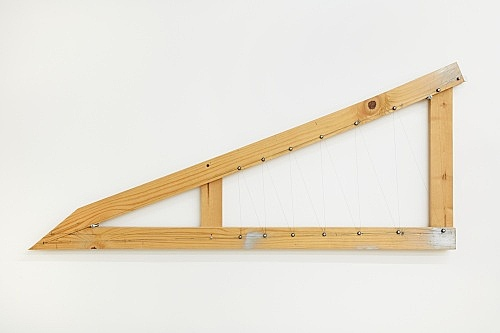 "Tony Conrad – ""Equal Tempered Twelve-tone Mesolabe"", ca. 2002 wood, wire, tuning key, screws 54 x 130 x 4.5 cm"