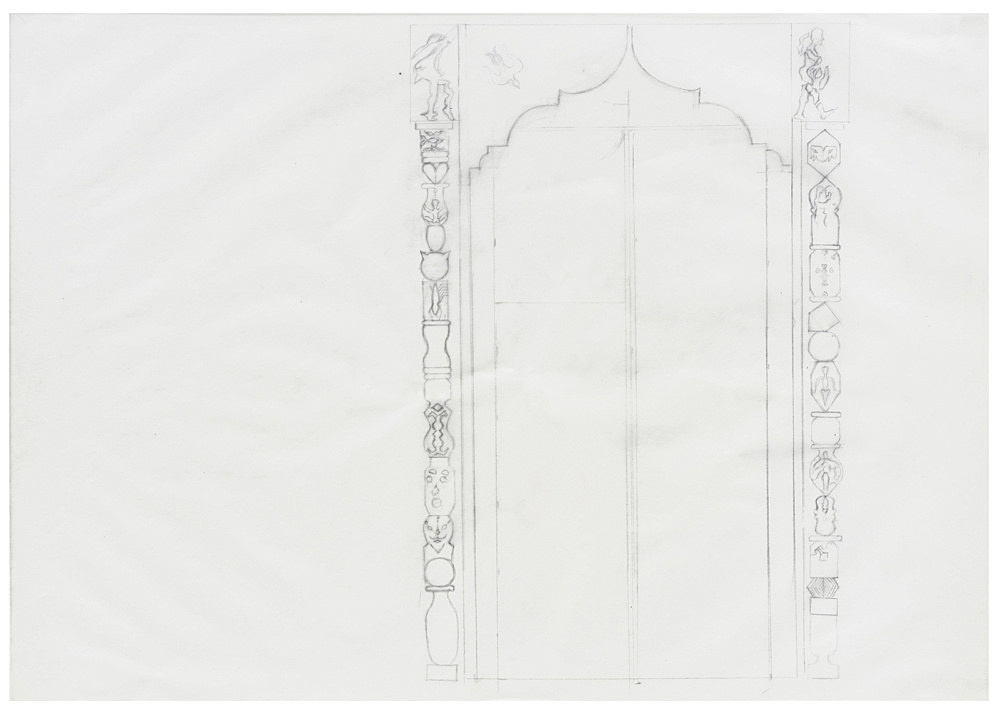 Katharina Wulff – 4 sketches for door with Mosharabia, 2017 pencil and coloured pencil on transparent paper each 29 x 42 cm detail