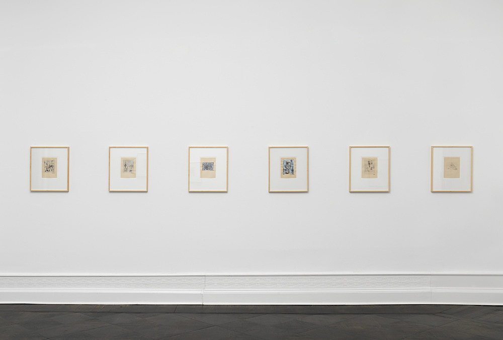 Albert Oehlen – Untitled (17-32), 1994 16 works on paper: ink, gouache, pencil, Tipp-Ex on catalogue page each 21 x 15 cm (framed: 46,2 x 37,6 x 3 cm) installation view Galerie Buchholz, Berlin 2018