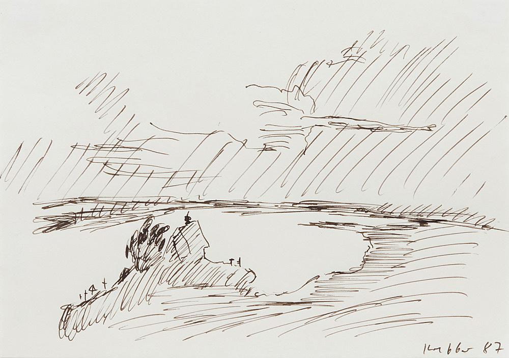Michael Krebber – Untitled, 1987 ink on paper 14.5 x 20.5 cm