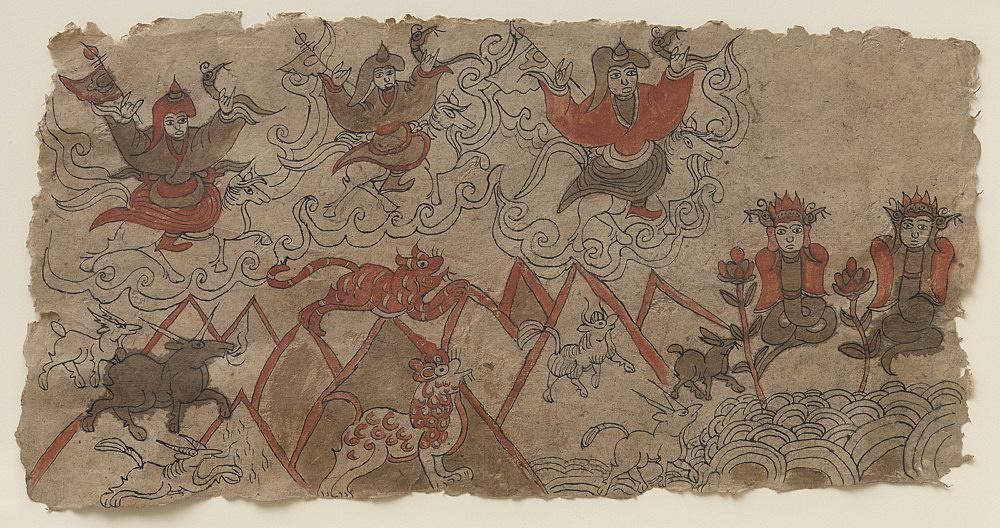 – Malerei aus Muli mit dtô-mbà-Priestern in gebirgiger Landschaft, umgeben von Tieren der Wildnis – Yak, Tiger, Damhirsch und einem Pferd