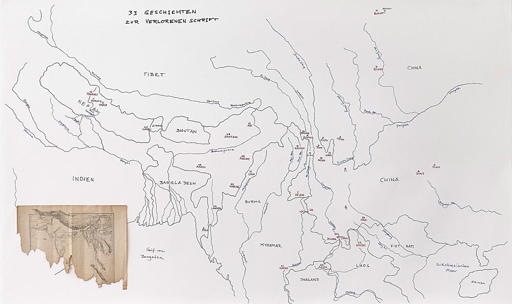 – 33 Geschichten zur verlorenen Schrift Verteilung der lokalen Gruppen (Ethnonyme) auf der Landkarte mit korrespondierenden Tonaufnahmen (iPad) Karte, Text und Sprecher Michael Oppitz, 2018
