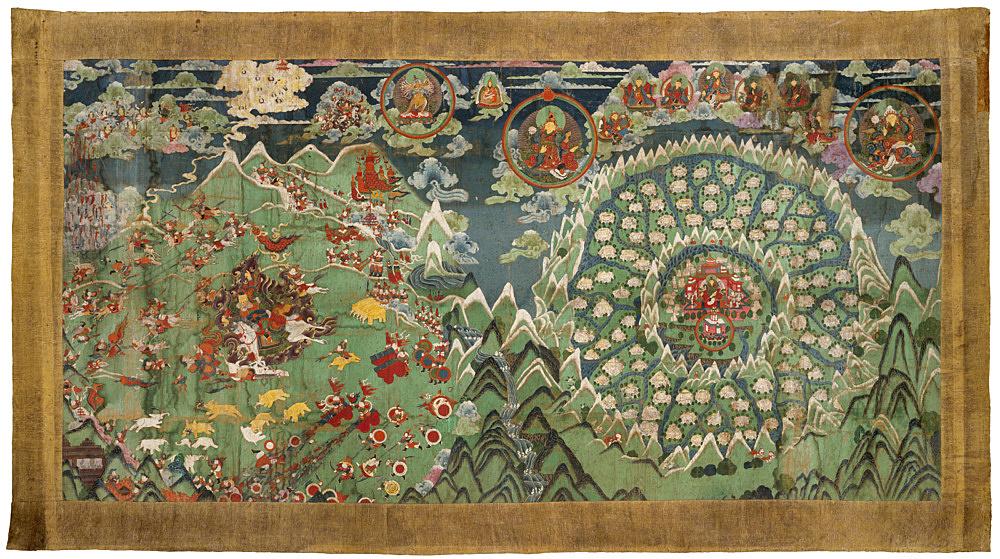 – Thangka – Die apokalyptische Endschlacht um Shambhala Rollbild, Mongolei 19 Jh. Fotografische Reproduktion