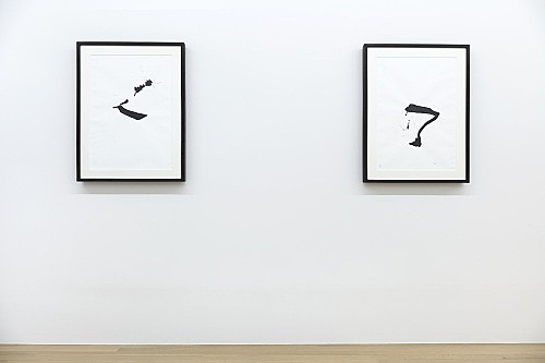 "Cerith Wyn Evans – ""Untitled XXIV"", 2007 ink on paper with radio 65 x 49 cm (framed: 84.5 x 64.5 x 4.5 cm) & ""Untitled XIV"", 2007 ink on paper with radio 65 x 49 cm (framed: 84.5 x 64.5 x 4.5 cm) installation view Galerie Buchholz, New York 2018"