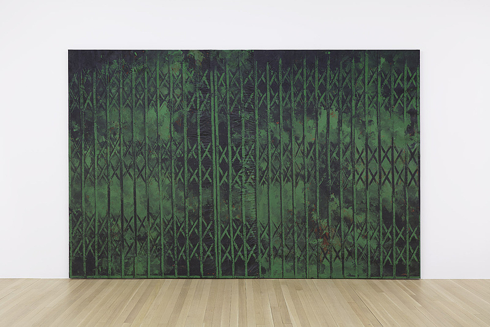 "Martin Wong – ""Untitled (green storefront)"", 1985 acrylic on canvas 203.2 x 304.8 cm installation view Galerie Buchholz, New York 2018"